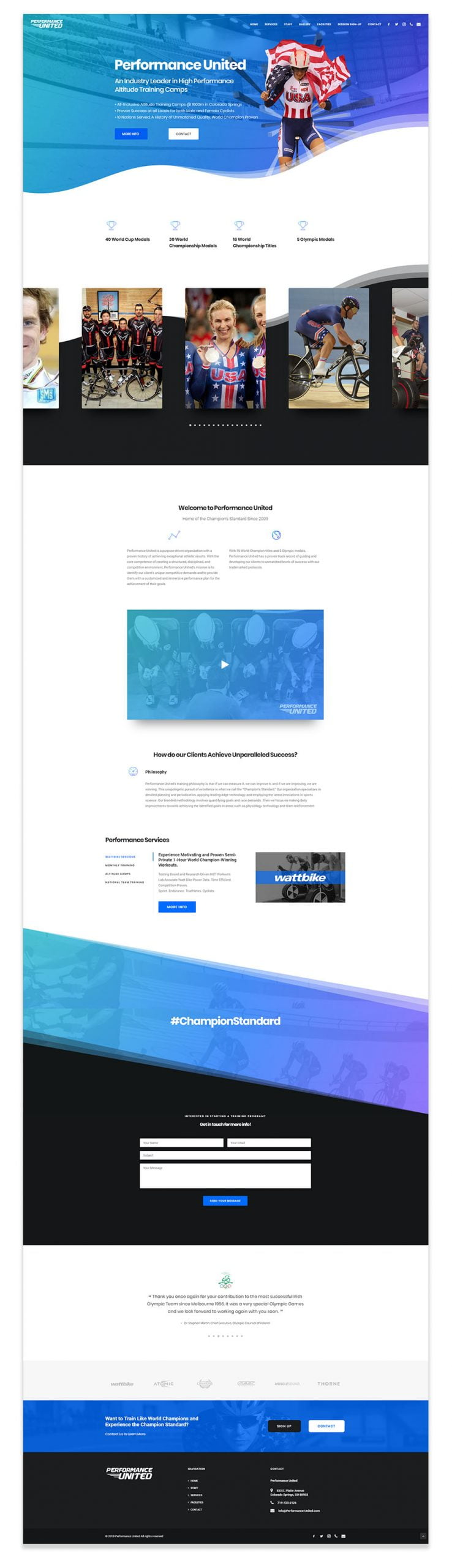 Performance United Website Design - Desktop
