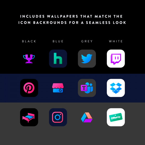 chroma ios icons matching wallpapers