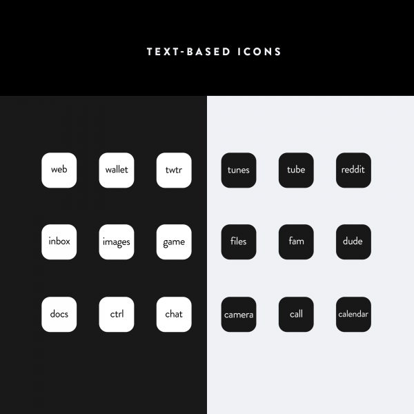 Lines iOS Text Icons